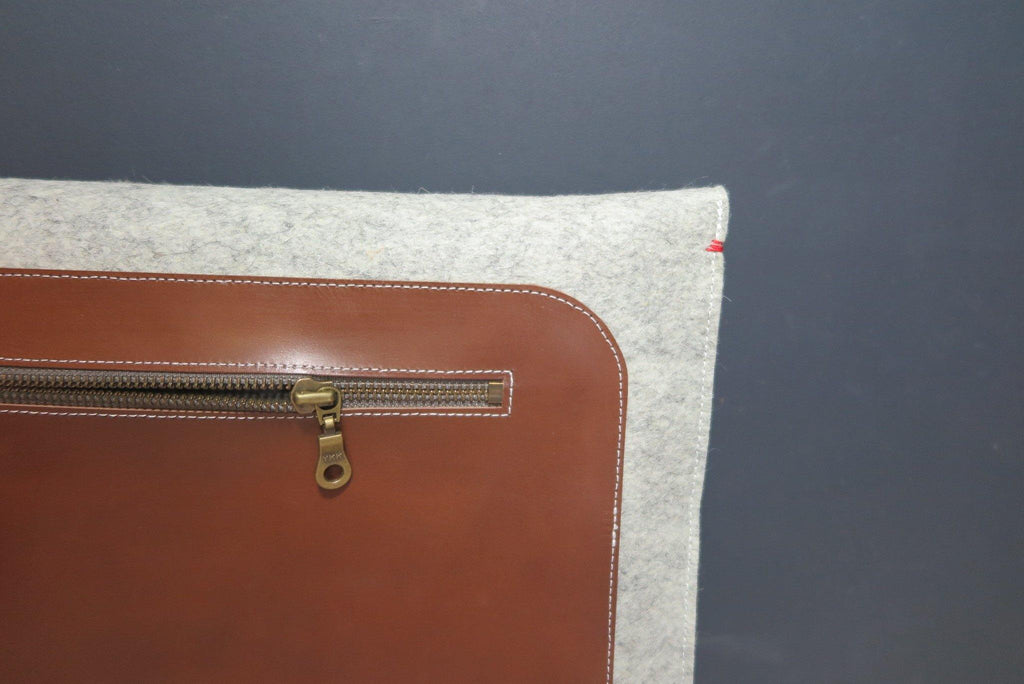 Premium leather and wool macbook case