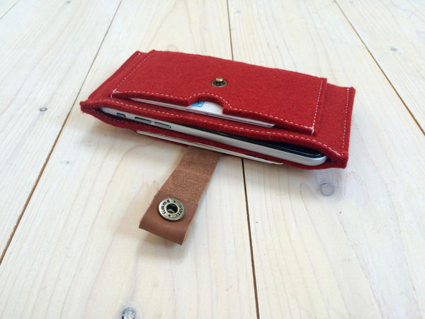 CONTRAST - iPhone wallet vilt | ROOD - Westerman Bags vilten tassen en hoezen. Dutch Design.