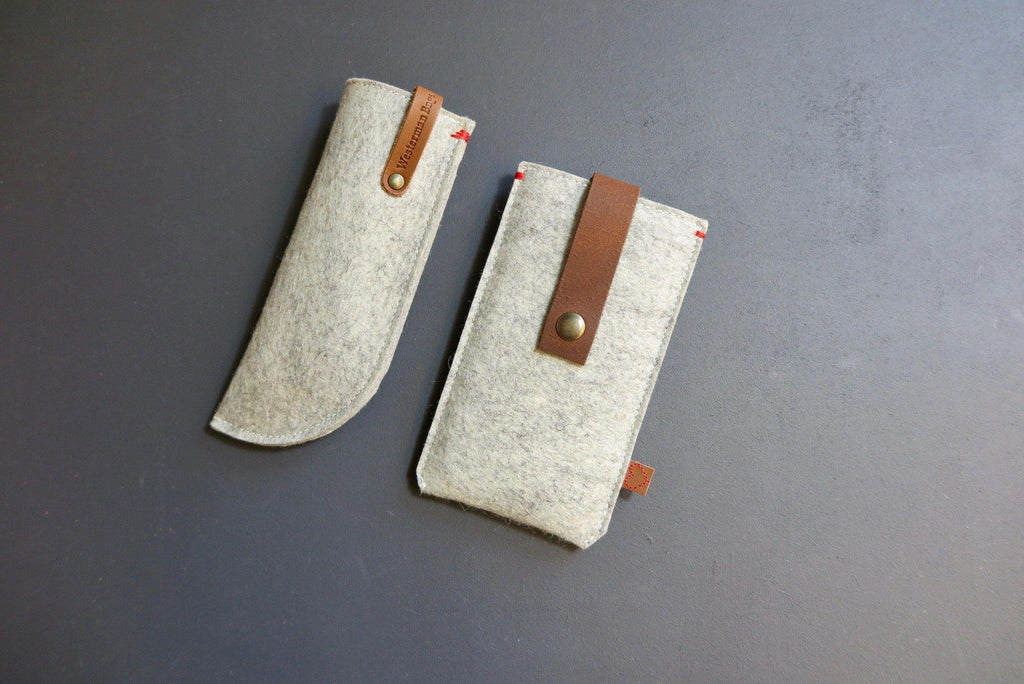 Grey felt cases collection handmade dutch design Westerman bags