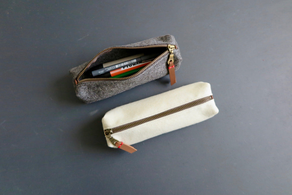 Fel pencil case in grey and off white by westerman bags