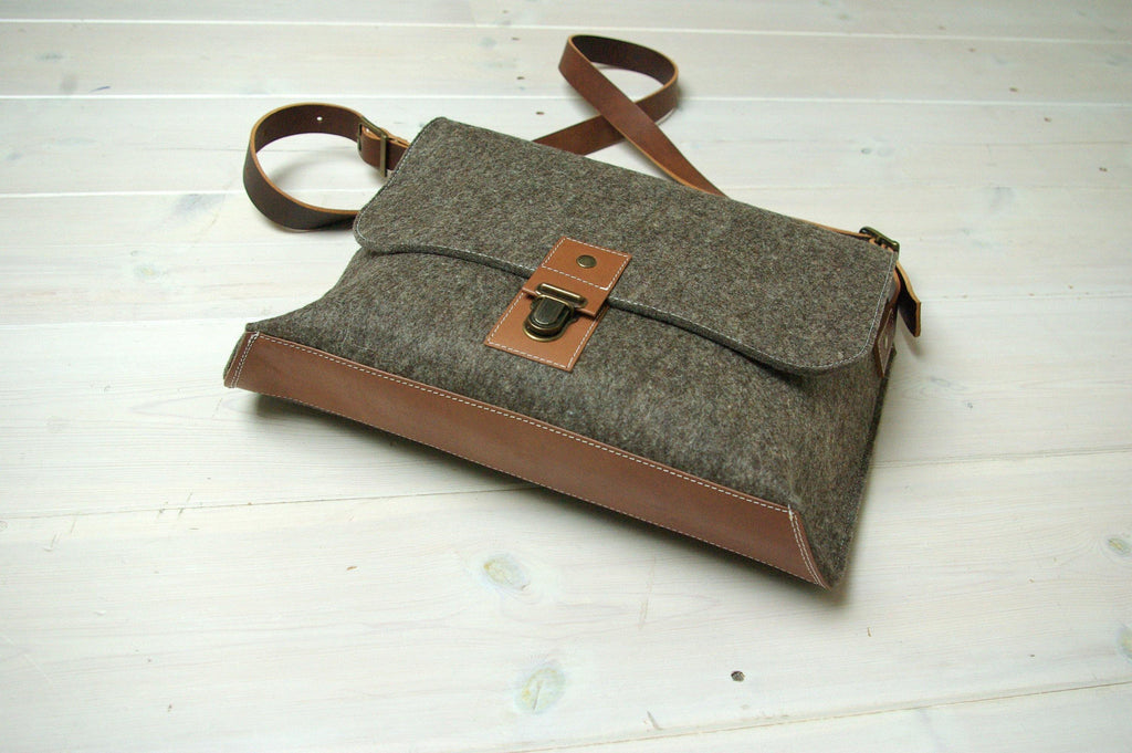felt and leather messenger bag by westerman bags