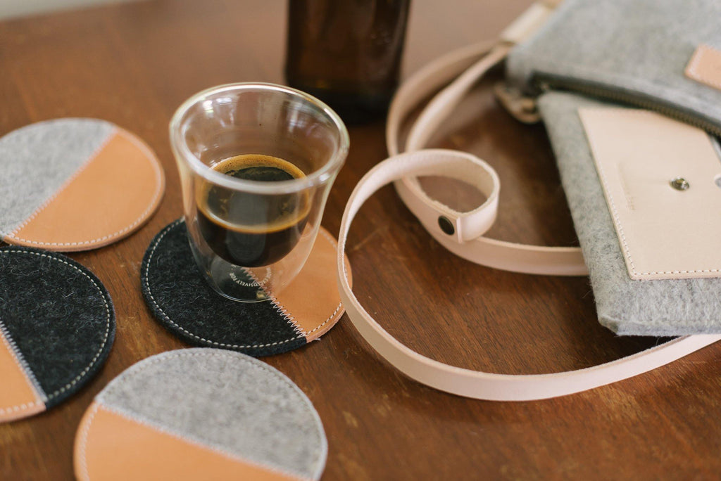 Wool felt products collection coasters bags Westerman bags