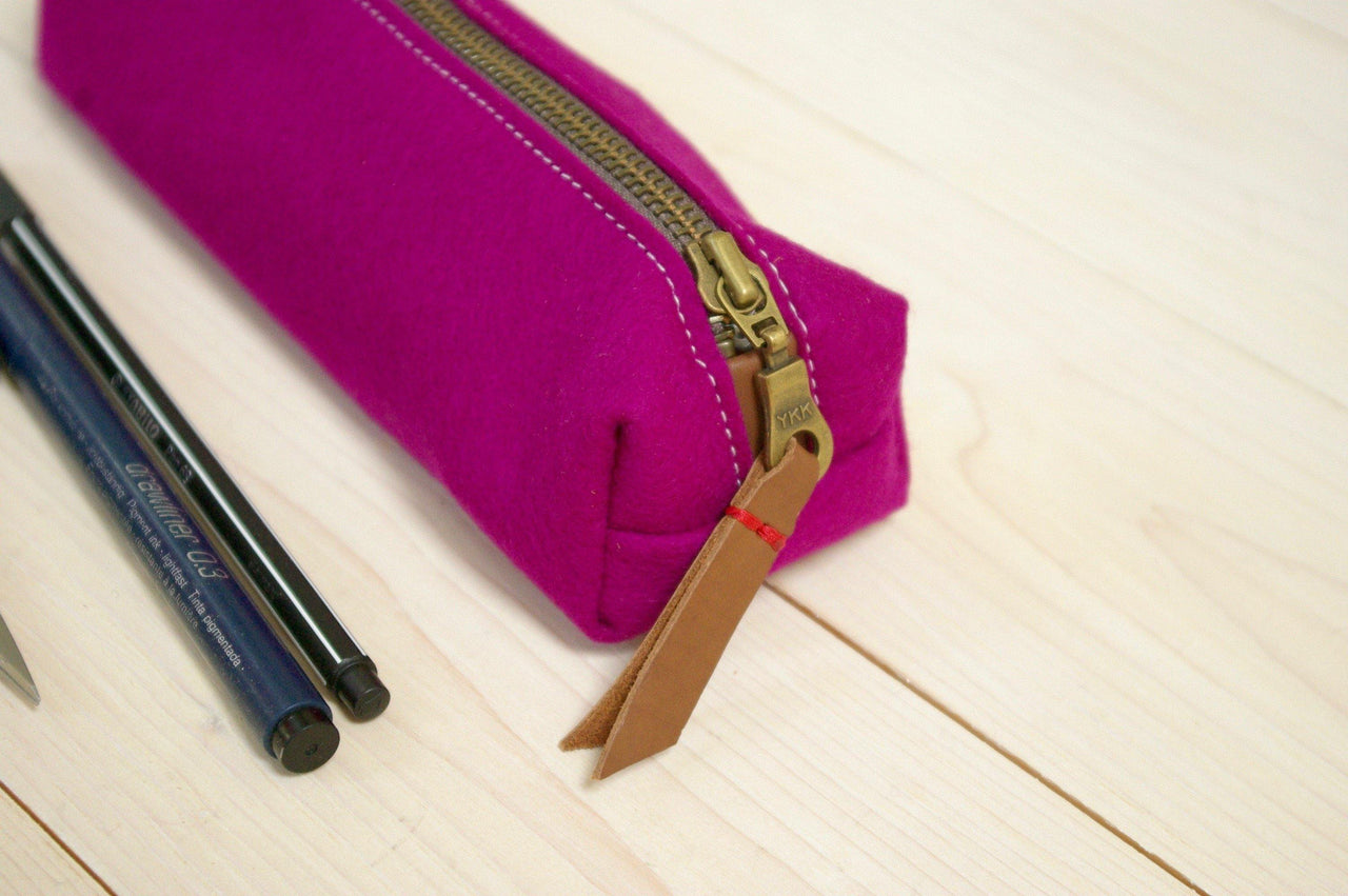 DARK PINK wool felt pencil case