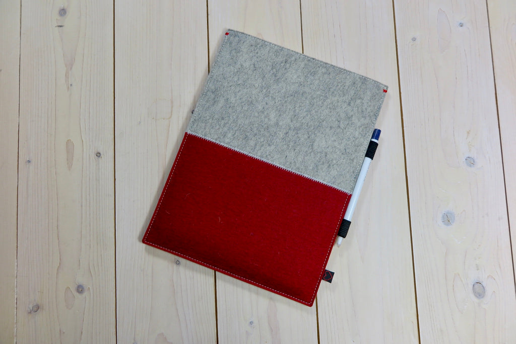 Ipad Pro 105 felt case in red and grey