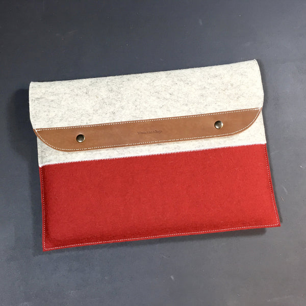 MACBOOK CASE premium leather and wool felt