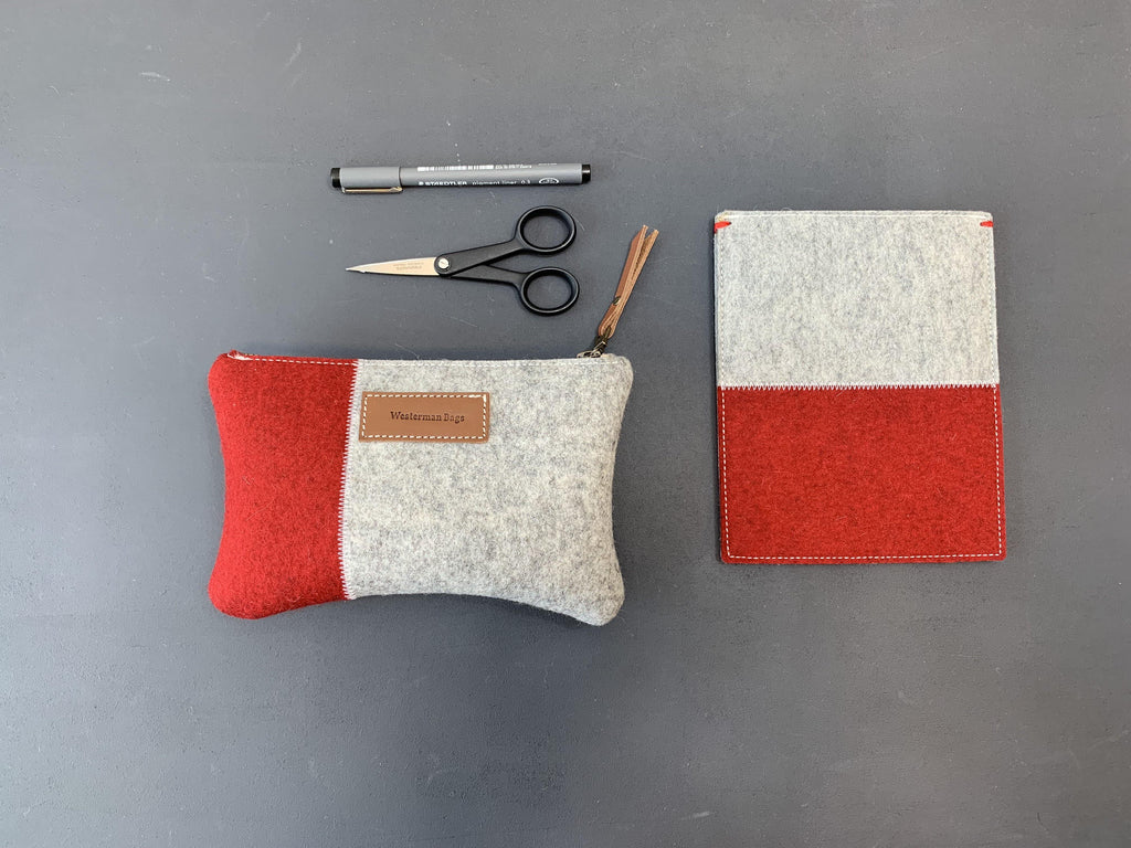 VANMIJ - XL Felt Pencil Case in 2 colours: red and grey - met naam - Westerman Bags vilten tassen en hoezen. Dutch Design.