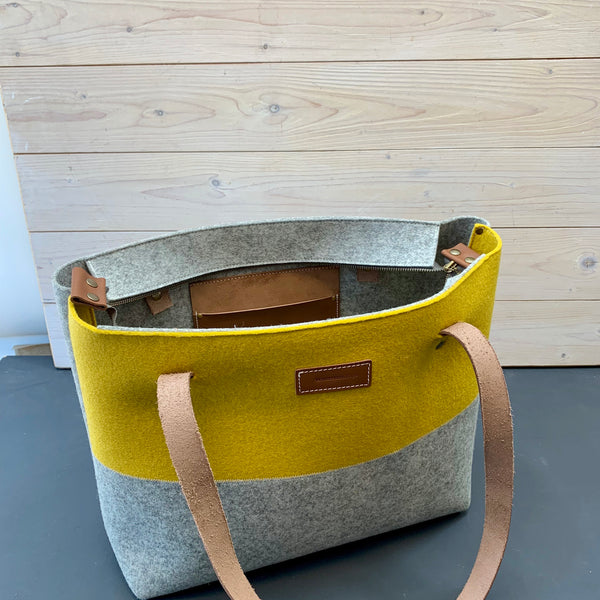 Felt bag with leather handles Dutch Design by Westerman bags