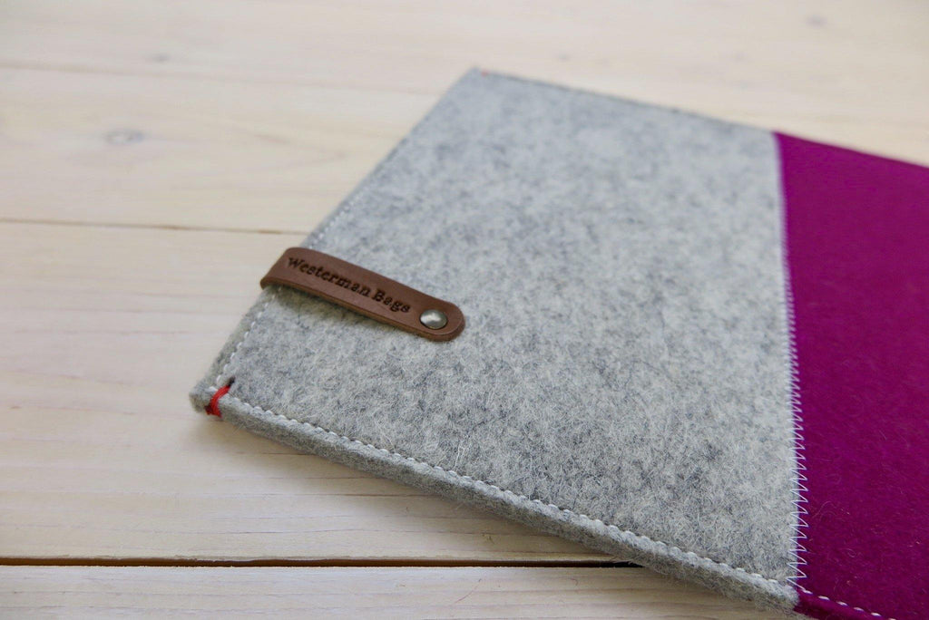 felt iPad sleeve from the Netherlands in grey and pink