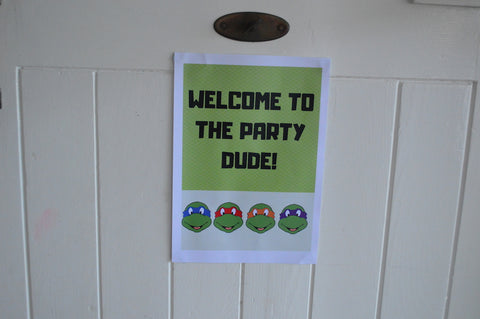 TMNT Party Front Door Sign