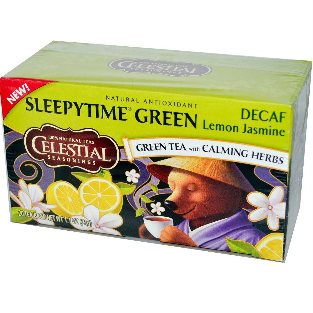 Celestial Seasonings: Decaf Sleepytime Green Lemon Jasmine Tea 20 Tea Bags, 1.1 Oz