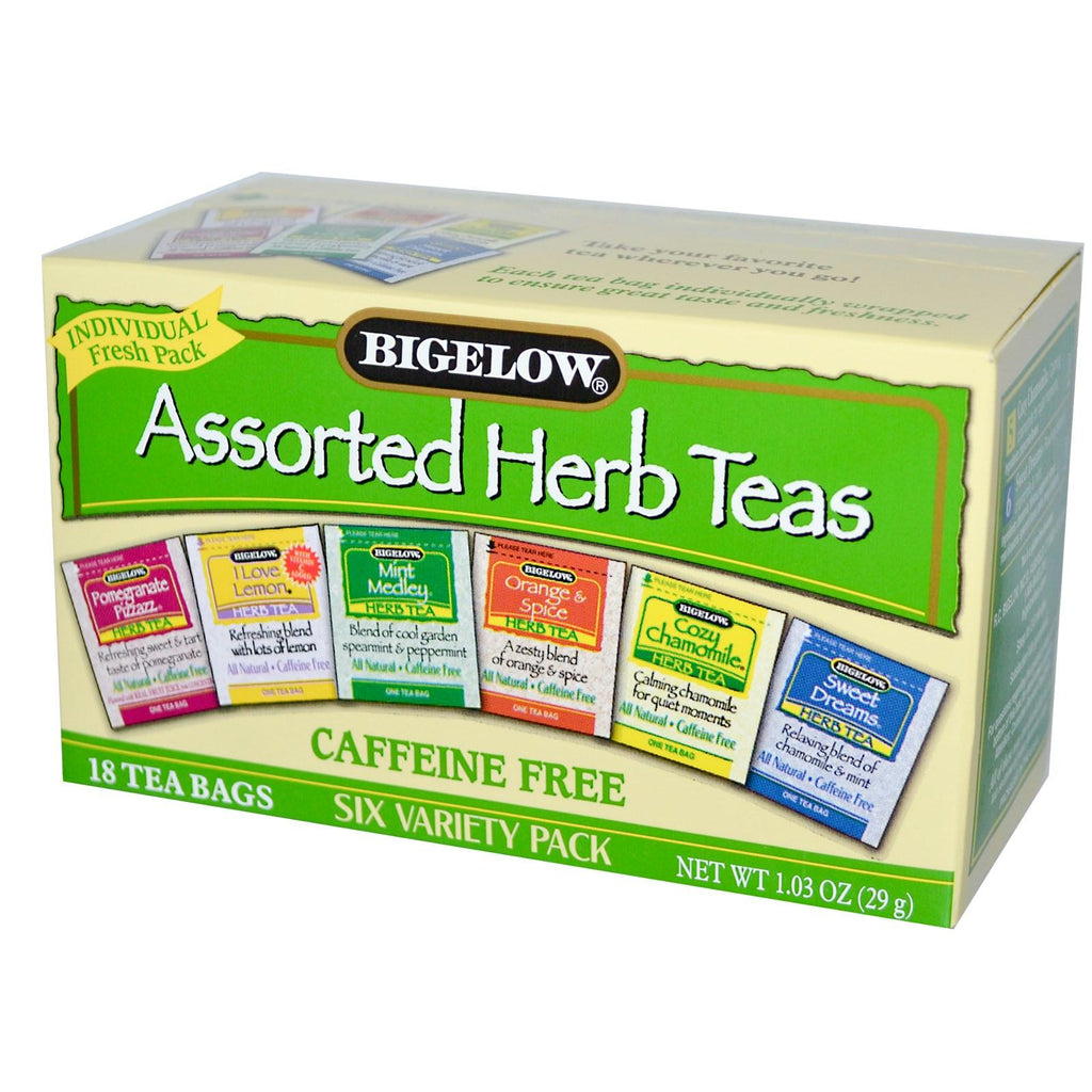 Bigelow: Assorted Herb Teas Six Variety Pack Caffeine Free 18 Tea Bags