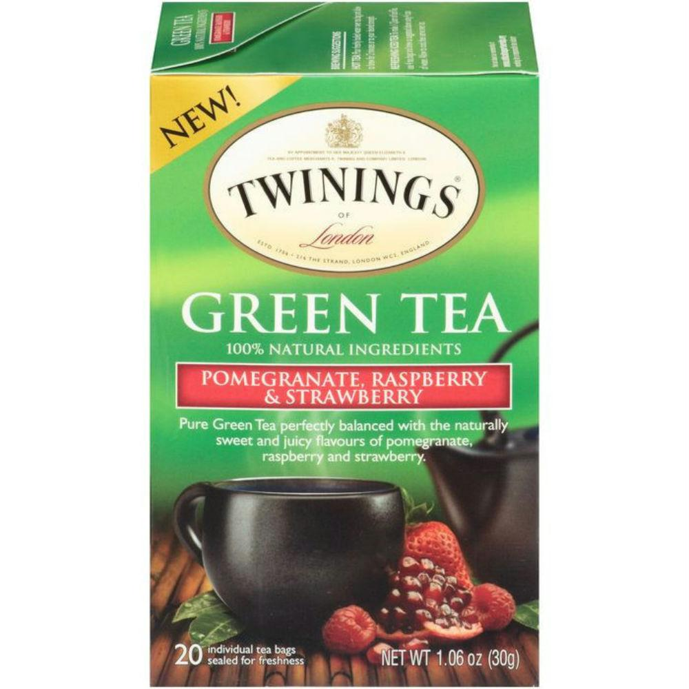 Twinings Of London: Green Tea Pomegranate Raspberry & Strawberry, 20 Tea Bags, 1.06 Oz