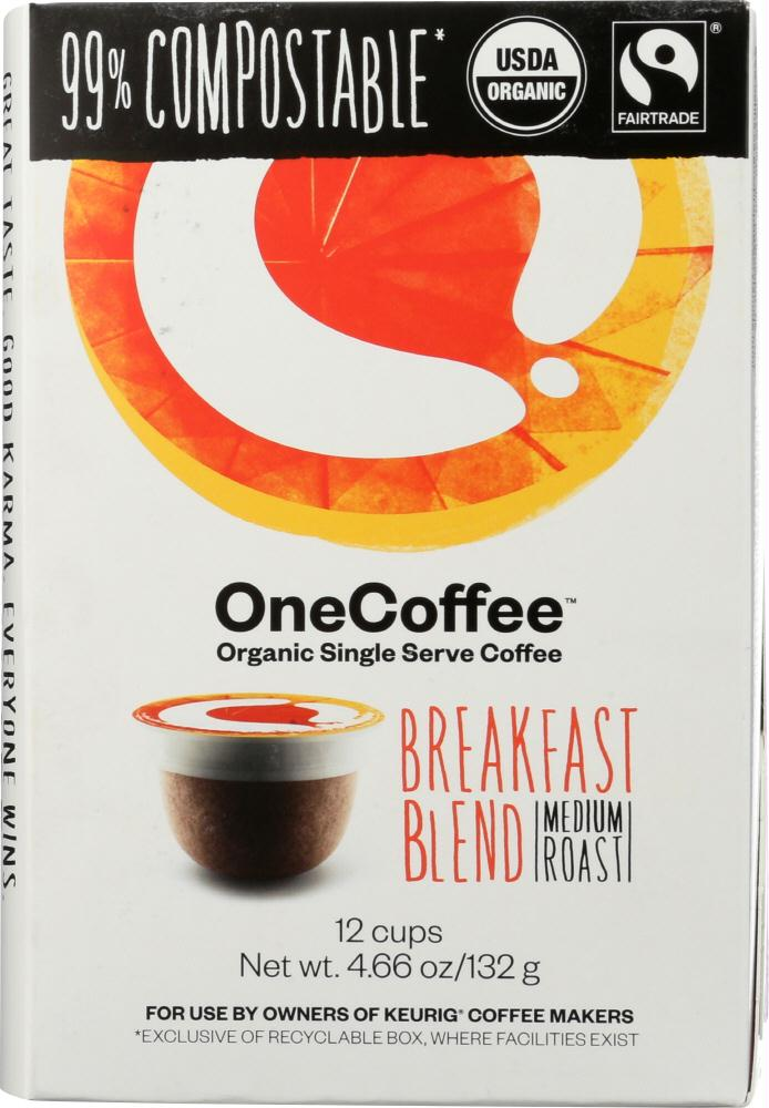 One Coffee: Organic Breakfast Blend Coffee 12 Cups, 4.66 Oz