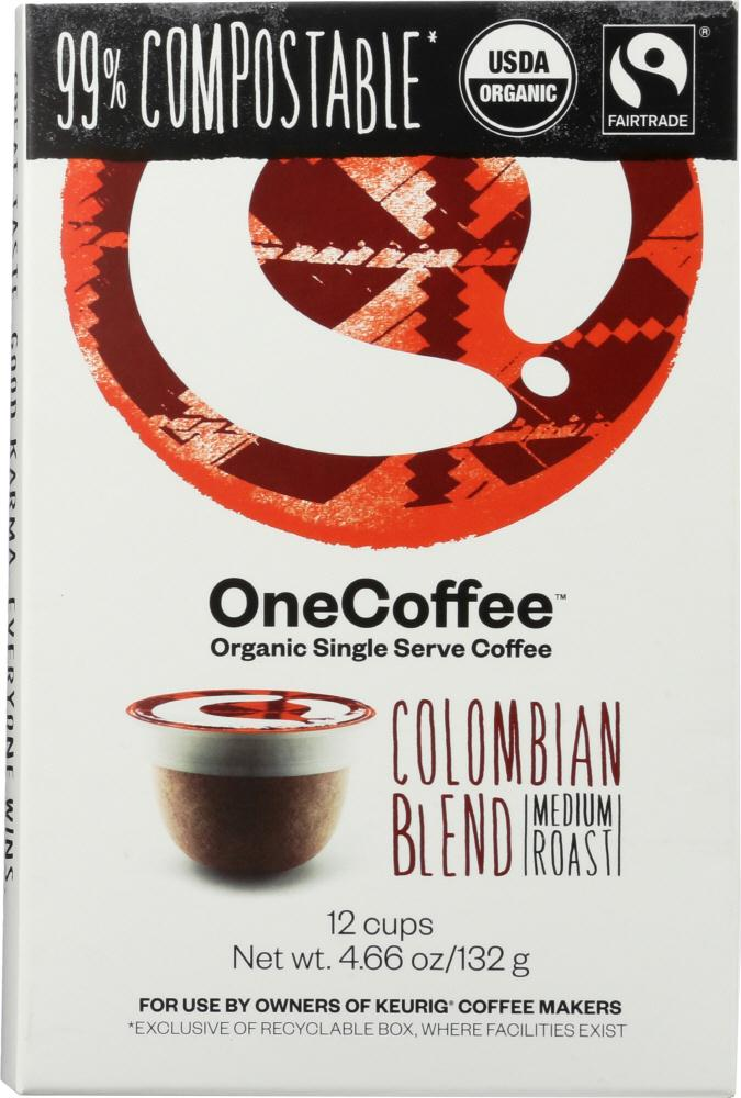 One Coffee: Organic Colombian Blend Coffee 12 Cups, 4.66 Oz