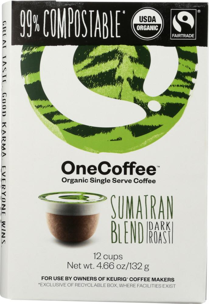 One Coffee: Organic Sumatran Blend Coffee 12 Cups, 4.66 Oz