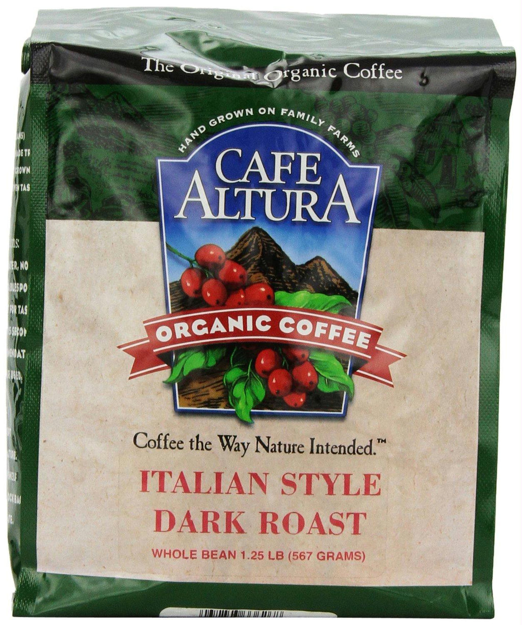 Cafe Altura: Organic Dark Roast Whole Bean Coffee Italian Style, 1.25 Lb