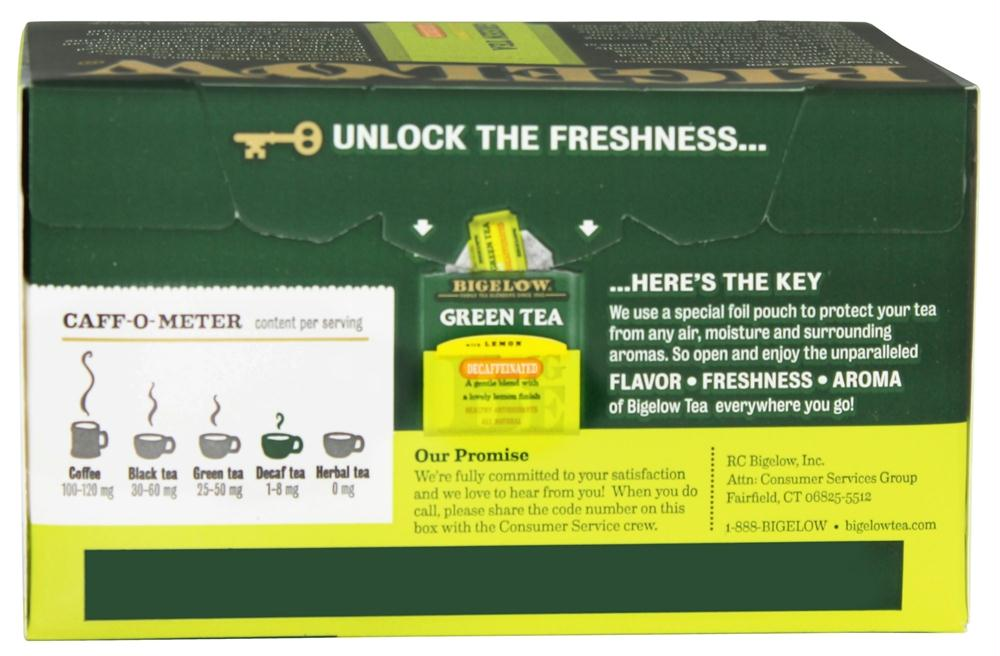 Bigelow: Green Tea With Lemon Naturally Decaffeinated 20 Tea Bags, 0.91 Oz