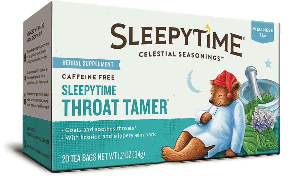 Celestial Seasonings: Sleepytime Throat Tamer Wellness Tea Caffeine Free 20 Tea Bag, 1.2 Oz