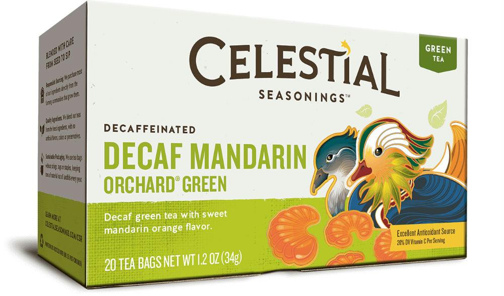 Celestial Seasonings: Green Tea With White Tea Decaf Mandarin Orchard 20 Tea Bags, 1.2 Oz