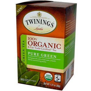 Twinings: 100% Organic Green Tea Pure Green, 20 Tea Bags