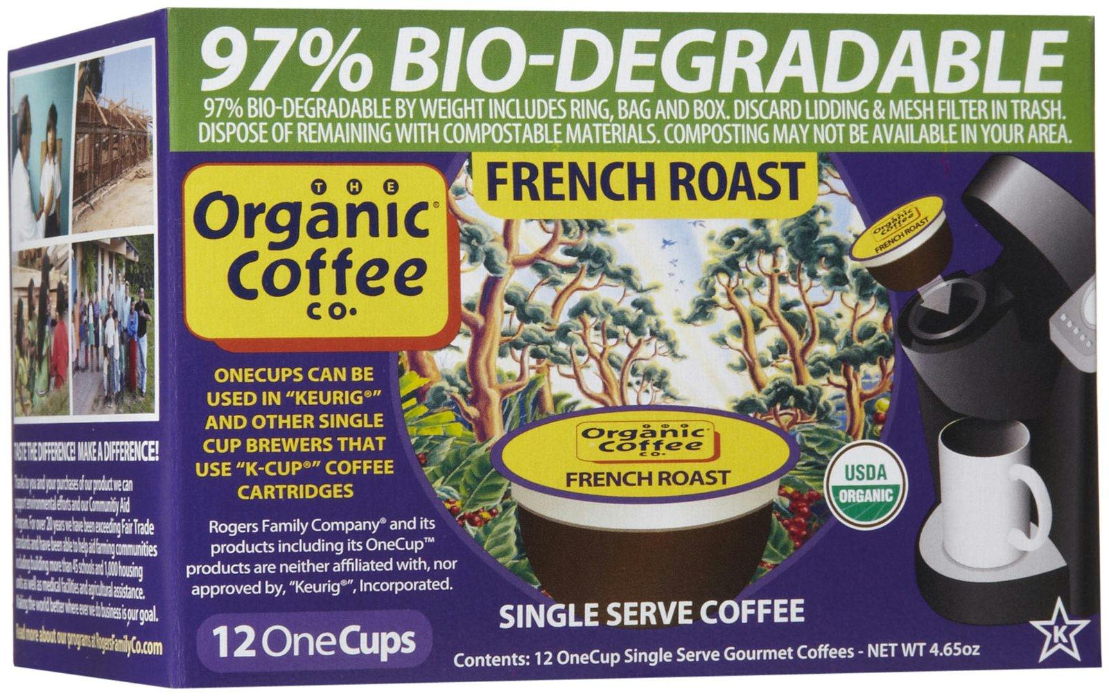 Organic Coffee Co.: One Cup Organic French Roast Coffee, 12 One Cups