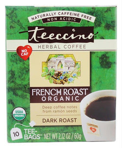 Teeccino: Organic Herbal Coffee French Roast Caffeine Free 10 Tea Bags, 2.12 Oz