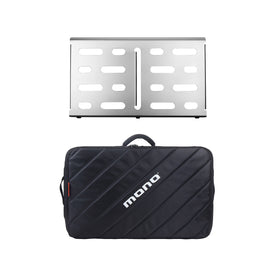 Pedalboard Medium, Silver and Tour Accessory Case 2.0, Black