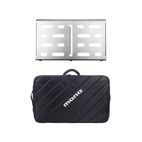 Pedalboard Medium, Silver + Tour Accessory Case 2.0, Black