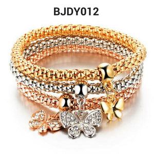 3 PC/SET RHINESTONE CRYSTAL CHARM BRACELET, 9 STYLES TO CHOOSE FROM: