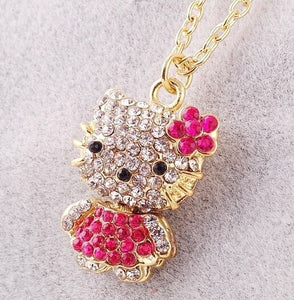 HELLO KITTY PENDANT NECKLACE AVAILABLE IN 3 COLORS OF RHINESTONE CRYSTALS FOR WOMEN AND GIRLS