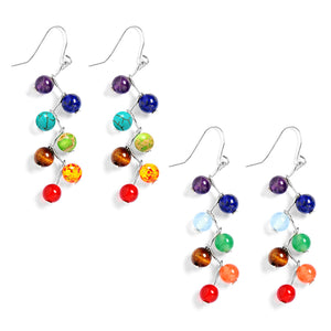 CHAKRA LONG DANGLE HOOK HEALING ENERGY EARRINGS YOGA BEAD JEWELRY FOR WOMEN GIRLS BOHO