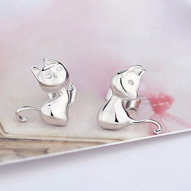CUTE CARTOON KITTY CAT STUD EARRINGS IN 925 STERLING SILVER FOR WOMEN AND GIRLS