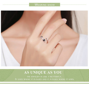 CAT WITH LONG TAIL FINGER RING FOR WOMEN CAT LOVER'S - 100% 925 STERLING SILVER ADJUSTABLE RING