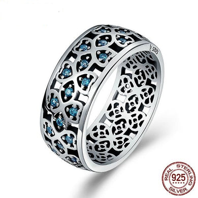 SWEET CLOVER RING WITH BLUE ZIRCON - 100% 925 STERLING SILVER
