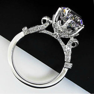 CERTIFIED 2 CT BELLA DIAMOND™ AMAZING DESIGNER ROUND STYLE RING PLATED IN PT950 PLATINUM