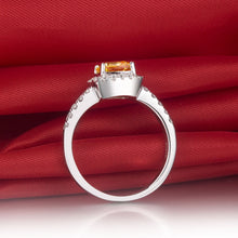 CERTIFIED 3 CT YELLOW BELLA DIAMOND™ CUSHION CUT HALO STYLE RING PLATED IN PT950 PLATINUM