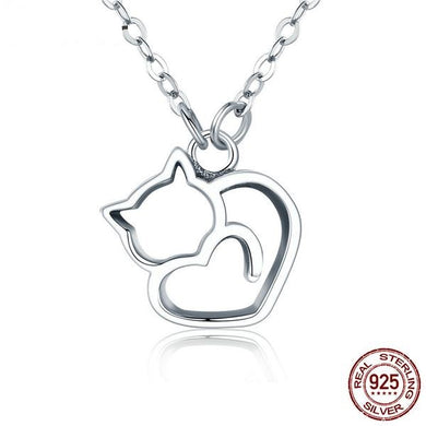 LOVELY, EXQUISITE HOLLOW CAT PENDANT NECKLACE 100% 925 STERLING SILVER FOR WOMEN & GIRLS