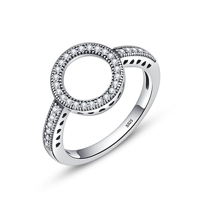 ROUND FOREVER RING WITH BLACK OR WHITE ZIRCON STONES FOR WOMEN - 100% SOLID 925 STERLING SILVER