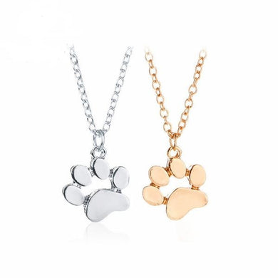 CAT & DOG LOVER'S PAW PENDANT AND NECKLACE IN GOLD OR SILVER