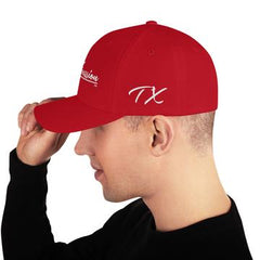 red and white twill cap