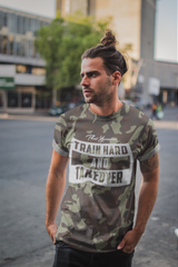 green camouflaged gym t-shirt