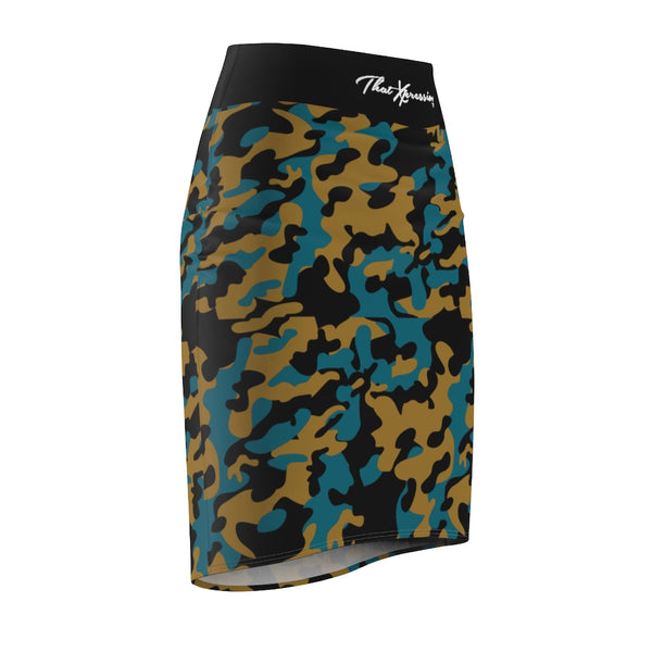 ThatXpression Fashion Teal Gold Black Camouflaged Women's Pencil Skirt