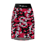 ThatXpression Fashion Red Gray Black Camouflaged Women's Pencil Skirt