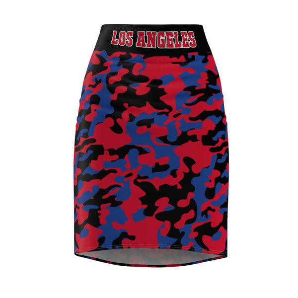 ThatXpression Fashion Royal Black Red Camouflaged Los Angeles Women's Pencil Skirt