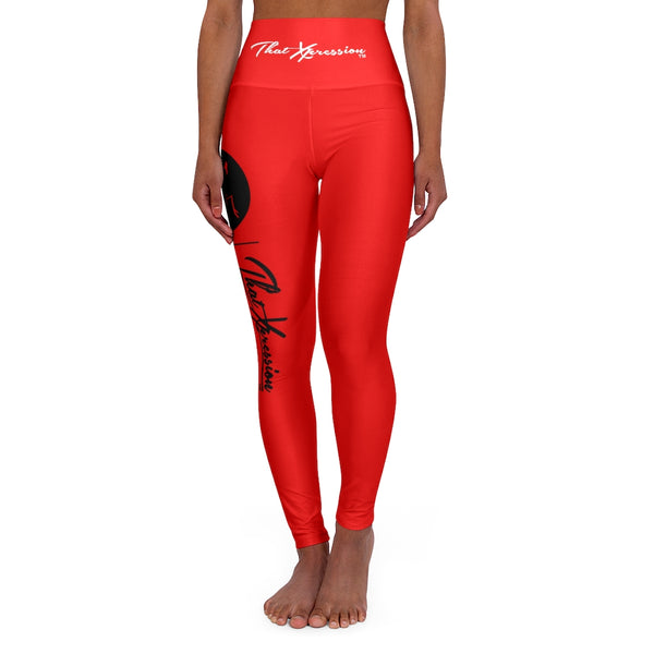 ThatXpression Fashion Spin Cycle High Waisted Red Yoga Leggings