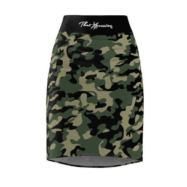 ThatXpression Fashion Green Tan Black Camouflaged Women's Pencil Skirt