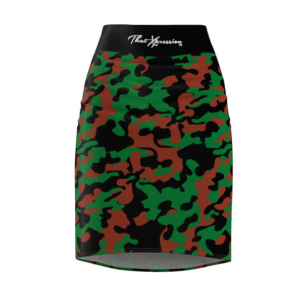 ThatXpression Fashion Brown Green Camouflaged Women's Pencil Skirt