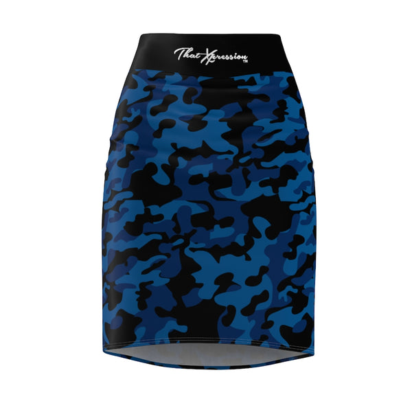 ThatXpression Fashion Navy Black Camouflaged Women's Pencil Skirt