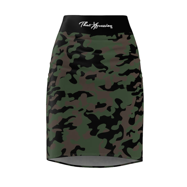 ThatXpression Fashion Green Black Camouflaged Women's Pencil Skirt