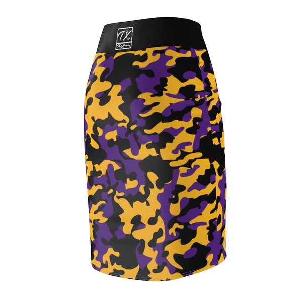 ThatXpression Fashion Purple Gold Black Camouflaged Women's Pencil Skirt